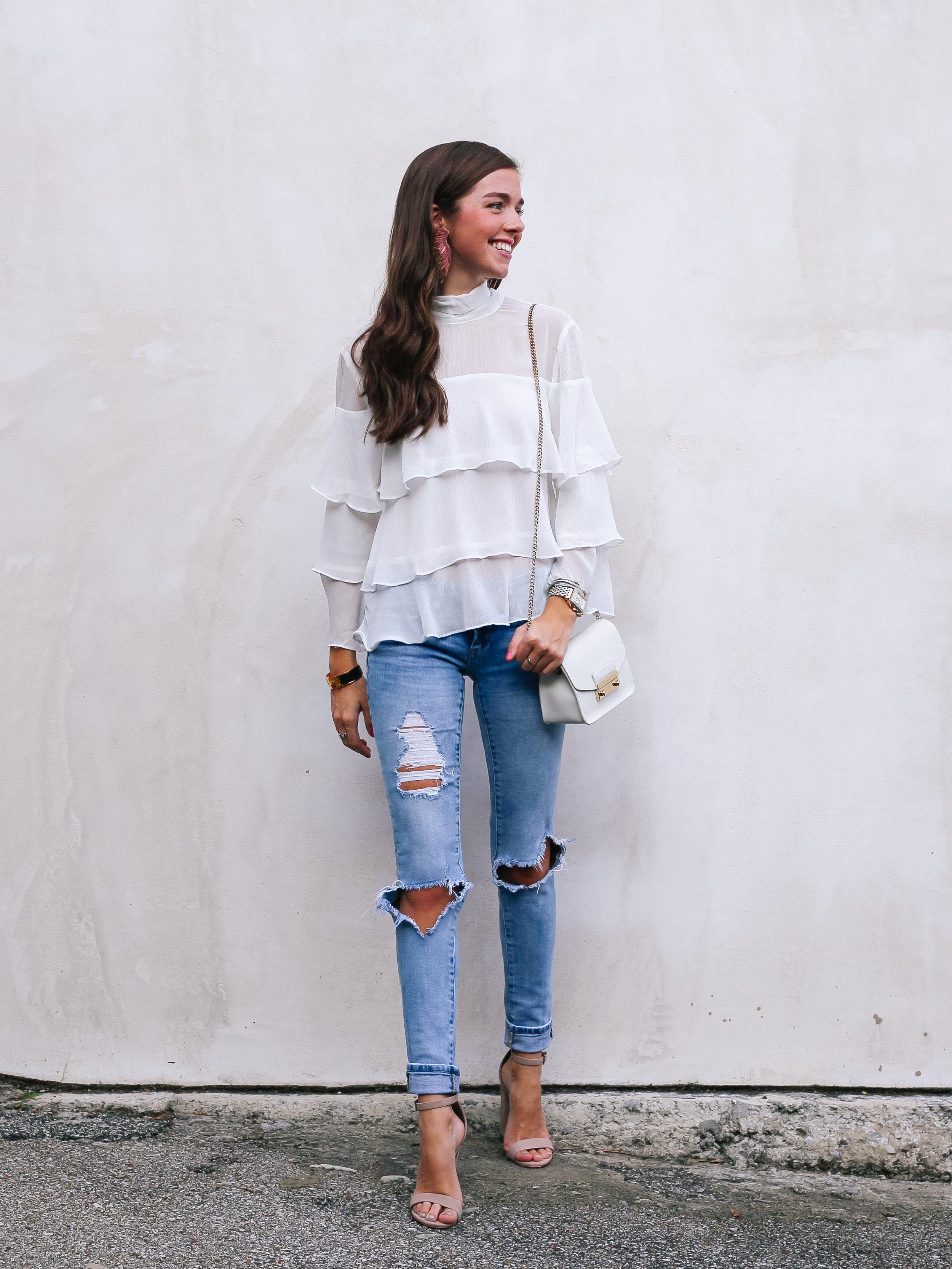 fashion blogger lcb style mignonne gavigan ruffle top schutz shoes (2 of 55).jpg