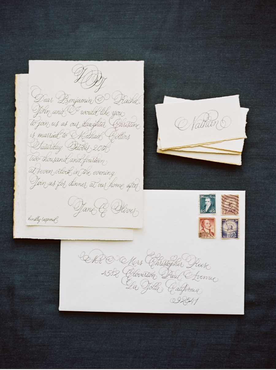 7. A formal look with historical nuancessuited to the private estate shoot this invite was styled for which can be viewed  here  . Calligraphy by  Design House of Moira  with photography by  Marcie Meredith Photography  .