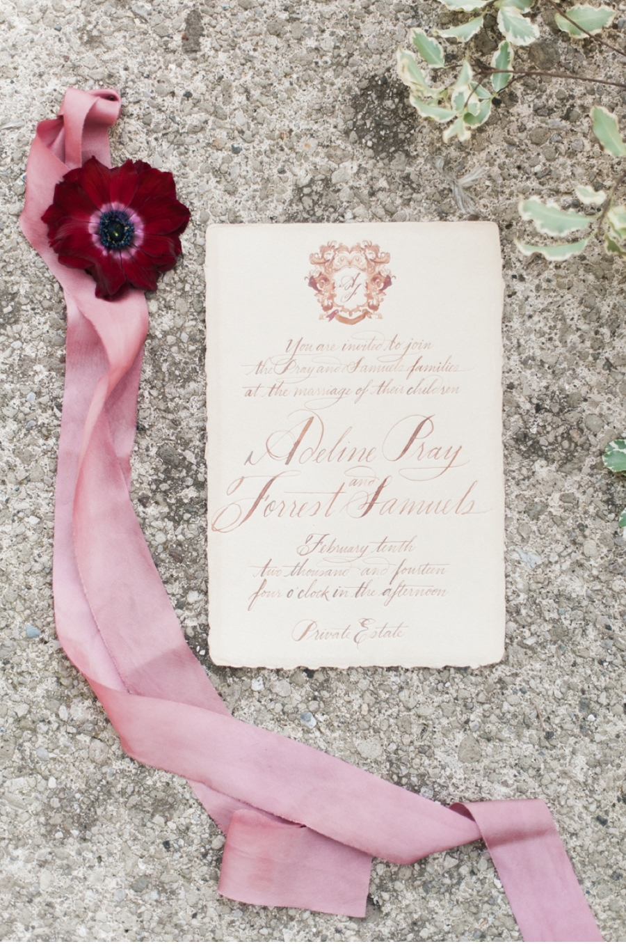 6. Old world Italian inspiration with calligraphy by  Julie Song Ink  and photography by  Vasia Photography  for the  Moda e Arte workshop  which can be seen  here  .
