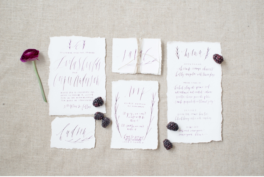 8. Ink from blackberries and crafted by  Written Word Calligraphy  for a shoot photographed by  Christie Graham Photography  . More stunning details can be seen  here  .