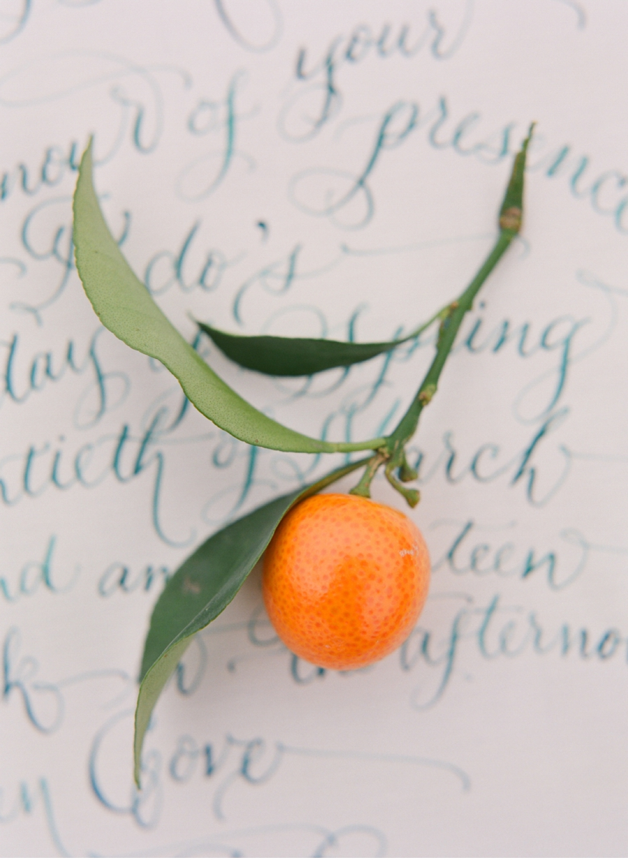 22. Great complimentary colour scheme for these paper goods and decor. Calligraphy by  Laura Lavender  and photography by  Adrian Michael Photography  . View the full citrus-inspiredfeature  here.