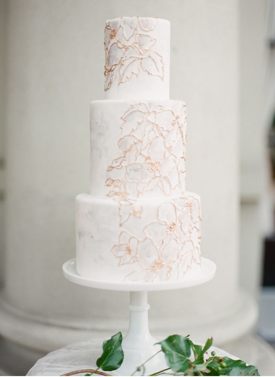 White-and-Gold-Tiered-Wedding-Cake