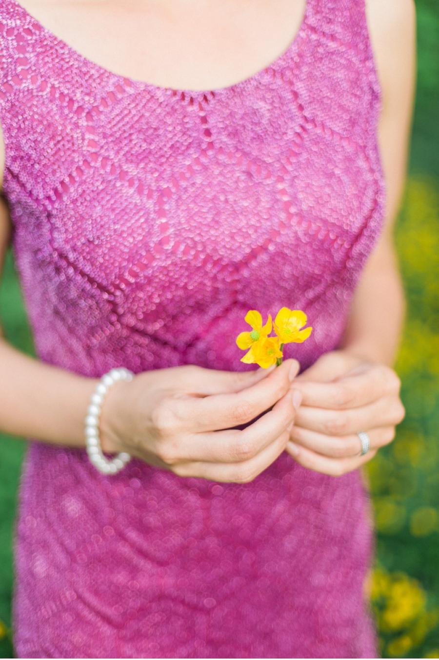 Fuscia-dress-with-yellow-wildflowers