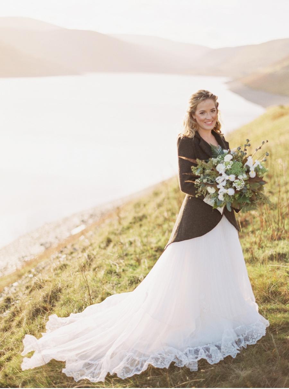 Bride-in-Tweed-Jacket-with-Gown