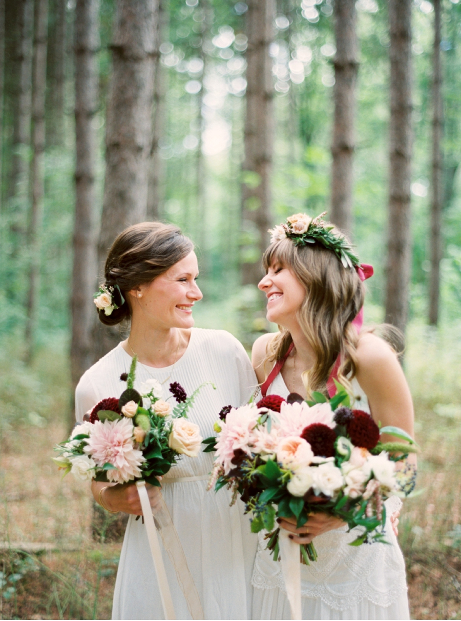 Bohemian-Bride-and-Bridesmaid-in-a-Forest