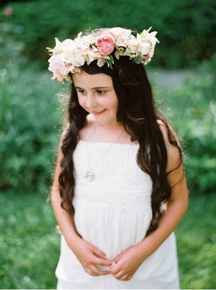 Brunette-Flower-Girl-Wearing-Floral-Crown