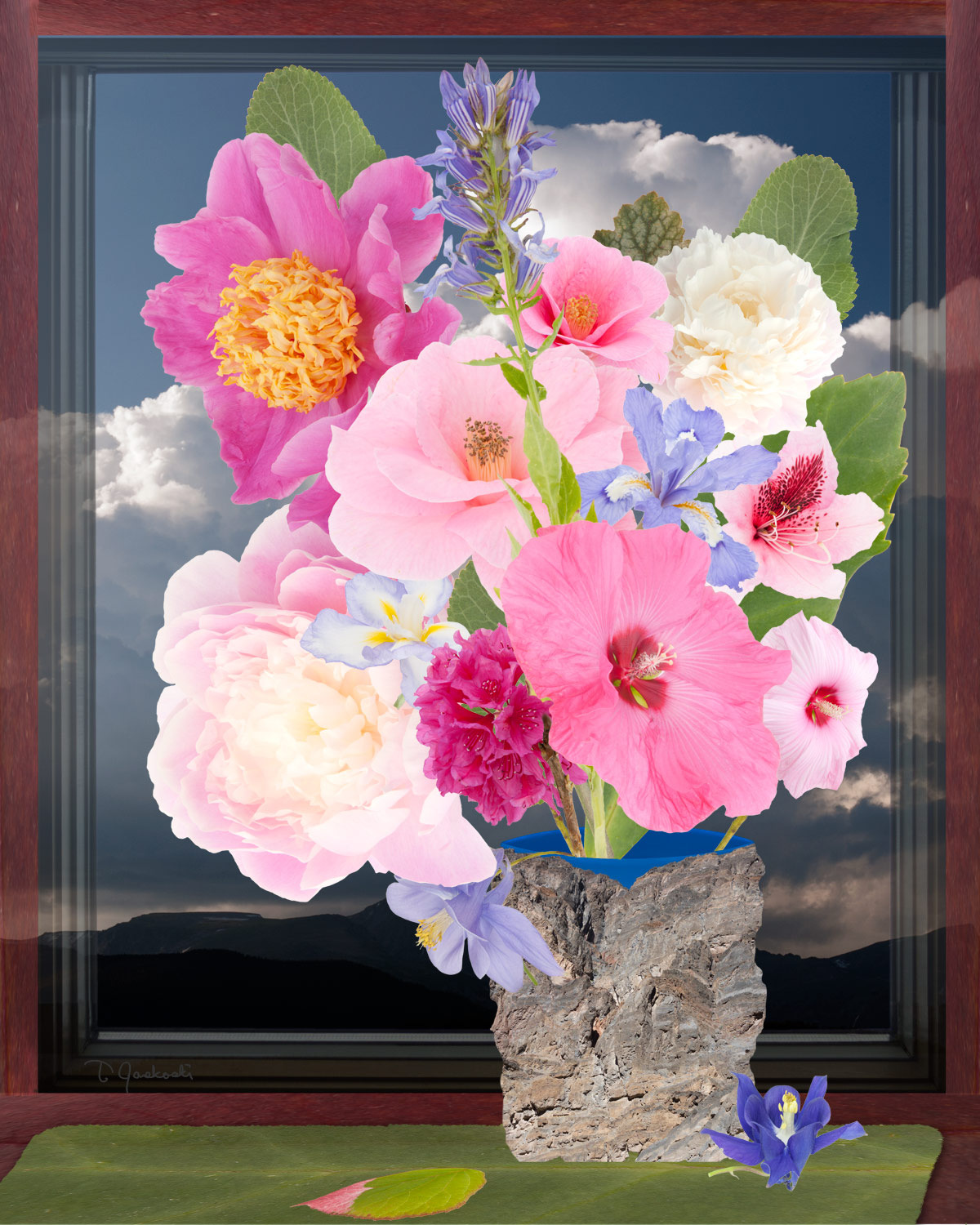 Flowers, Blue-Rimmed Vase & Mountain Clouds