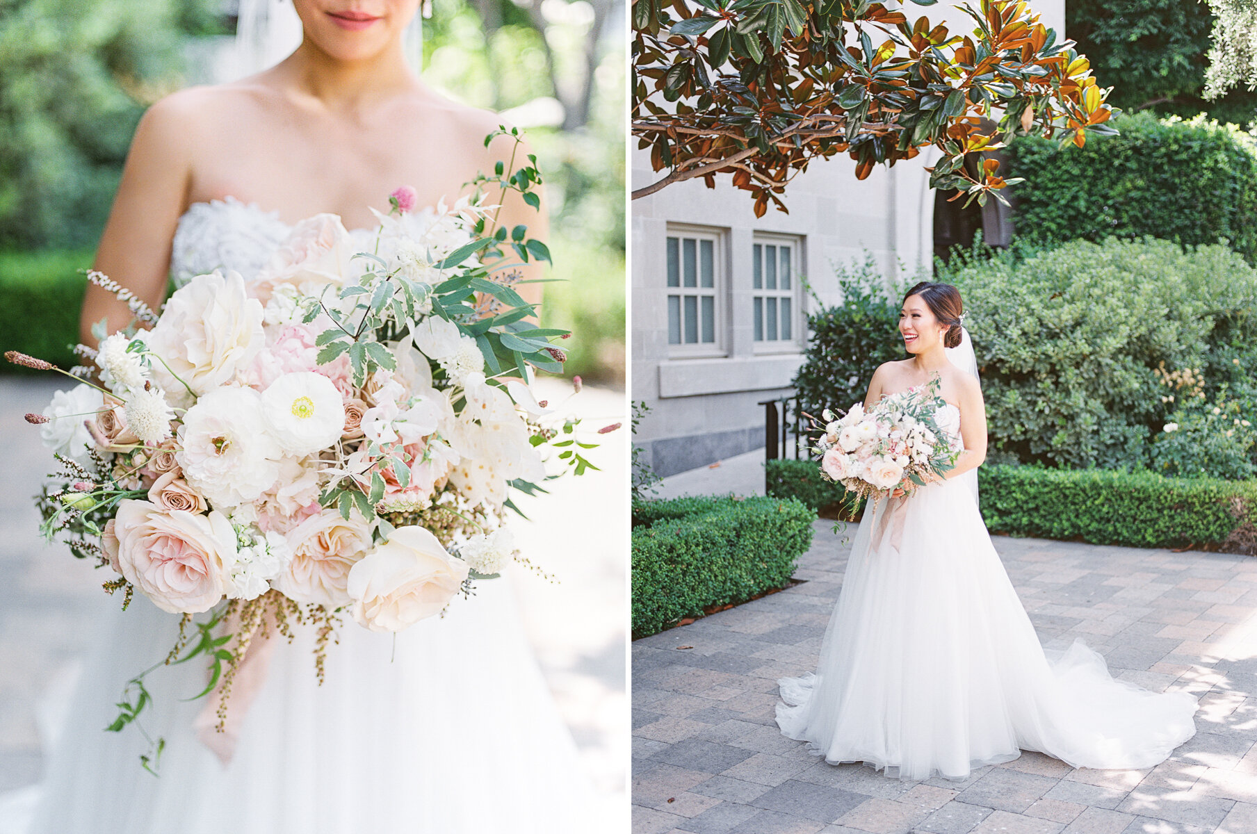 Organic Bridal Bouquet with hints of blush