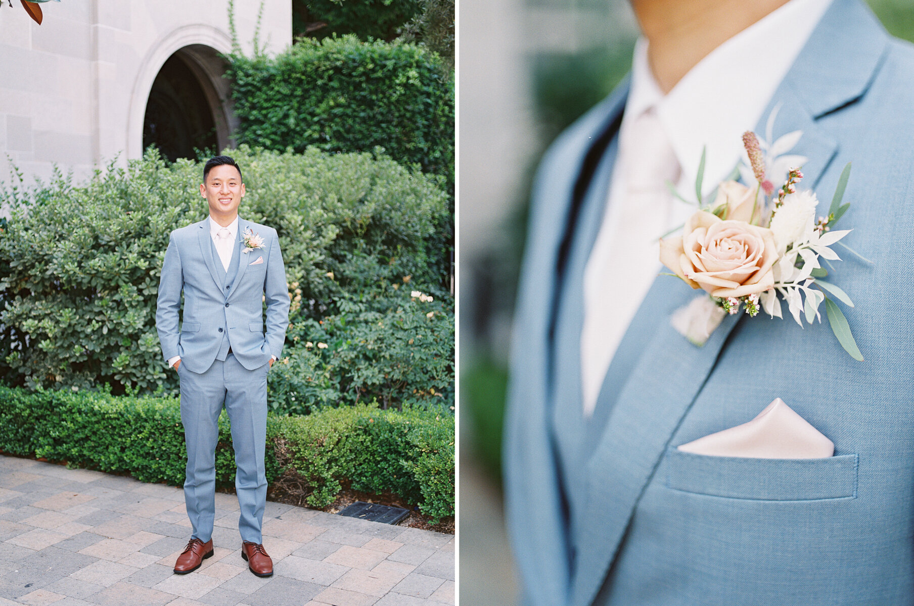 Groom in a Light Blue Suit (Friar Tux)