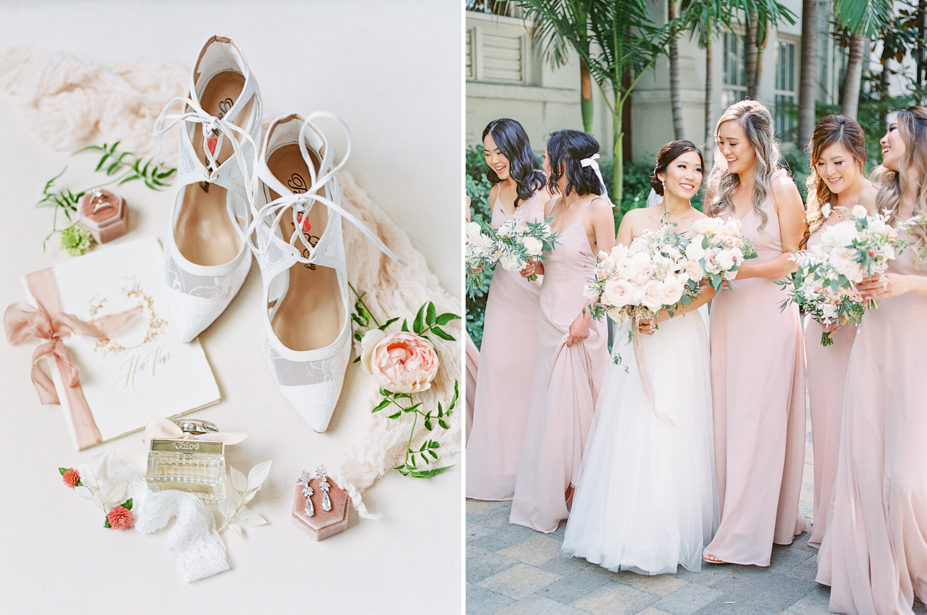 Wedding Shoes and Bridesmaids in blush