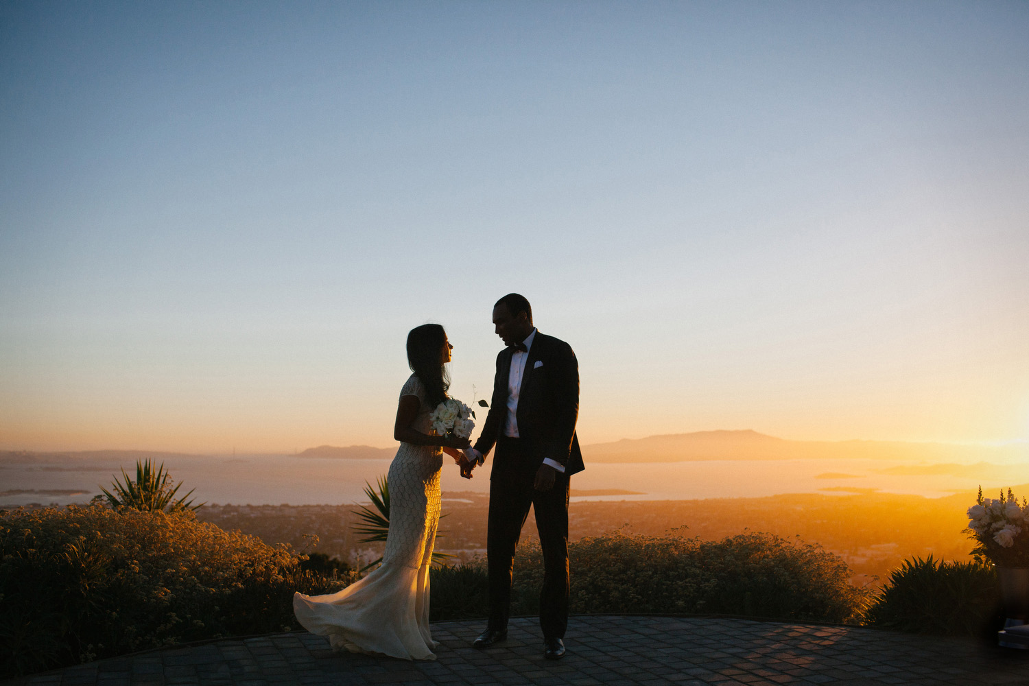 Sunset wedding portrait in the Berkeley hills.