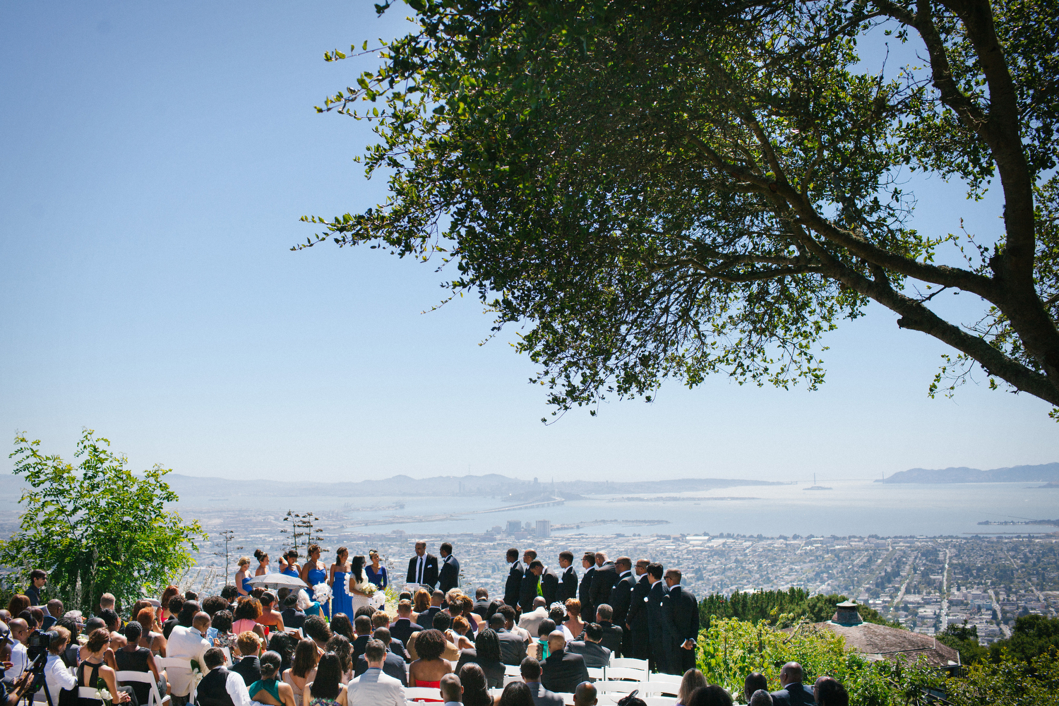 Otilia and Andrew's wedding ceremony overlooking the Bay Area in the Berkeley hills.