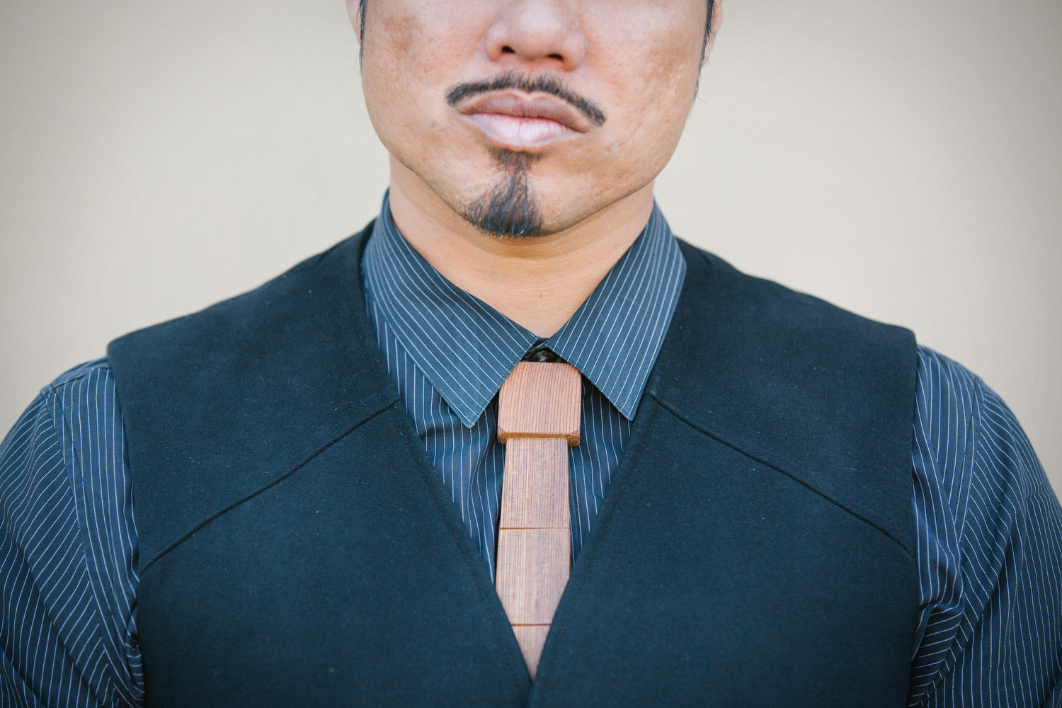 Alfred sported an awesome wood tie from  Wood Thumb  in San Francisco.
