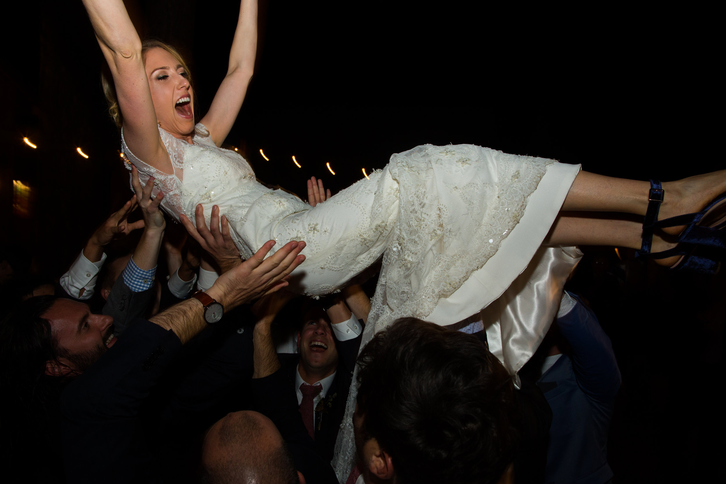 """""""Erica kept the party raging all night with her talent and amazing ability to escalate the energy until the very end. I've never seen such a packed dance floor and everyone had a blast!""""      James & Laura at Evergreen Lodge"""