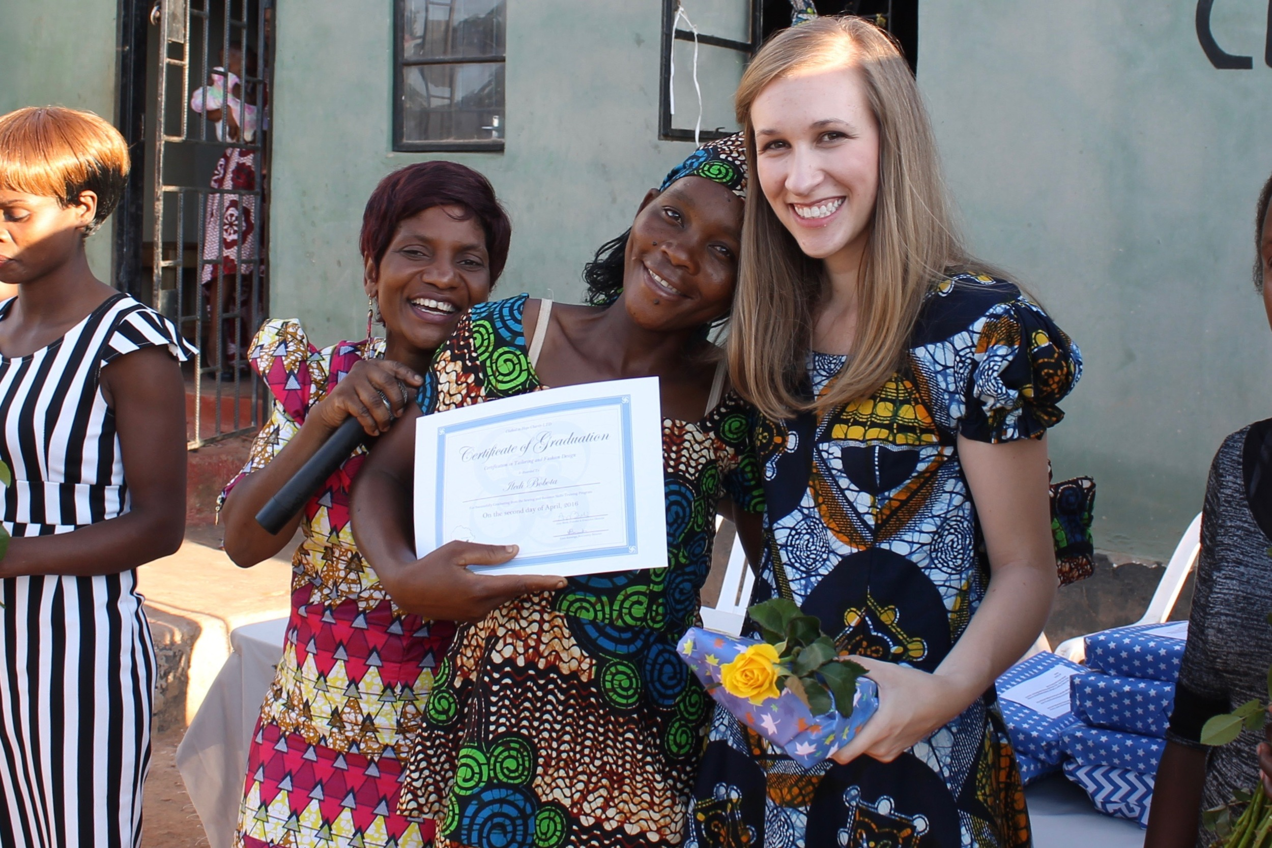 In-Country Director Elina, Muchochoma Village Graduate Iledi, and Founder Amy