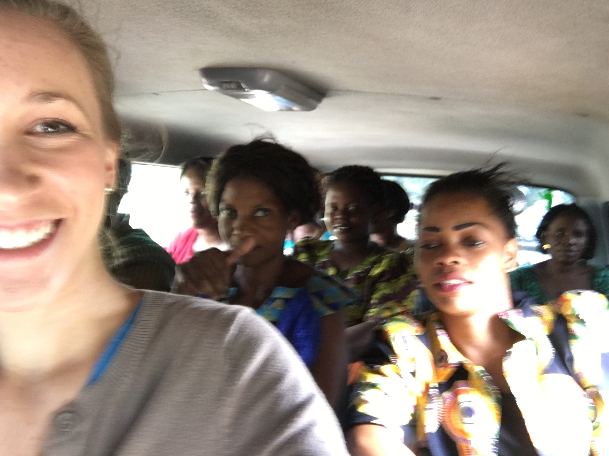 This blurry selfie doesn't even do this justice. Friends, we were packed to.the.gills in this Zambian minibus.