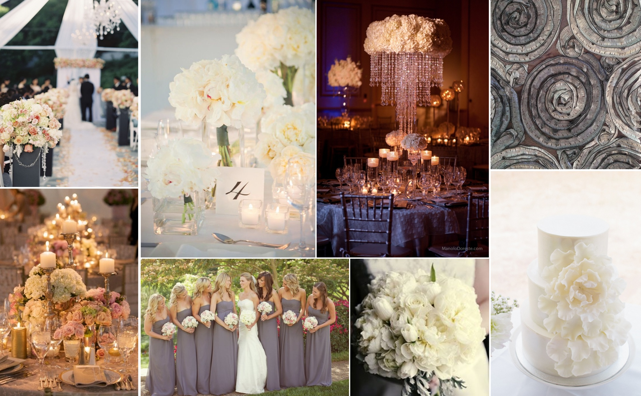 Glamorous Silver, Grey and Ivory Wedding Inspiration