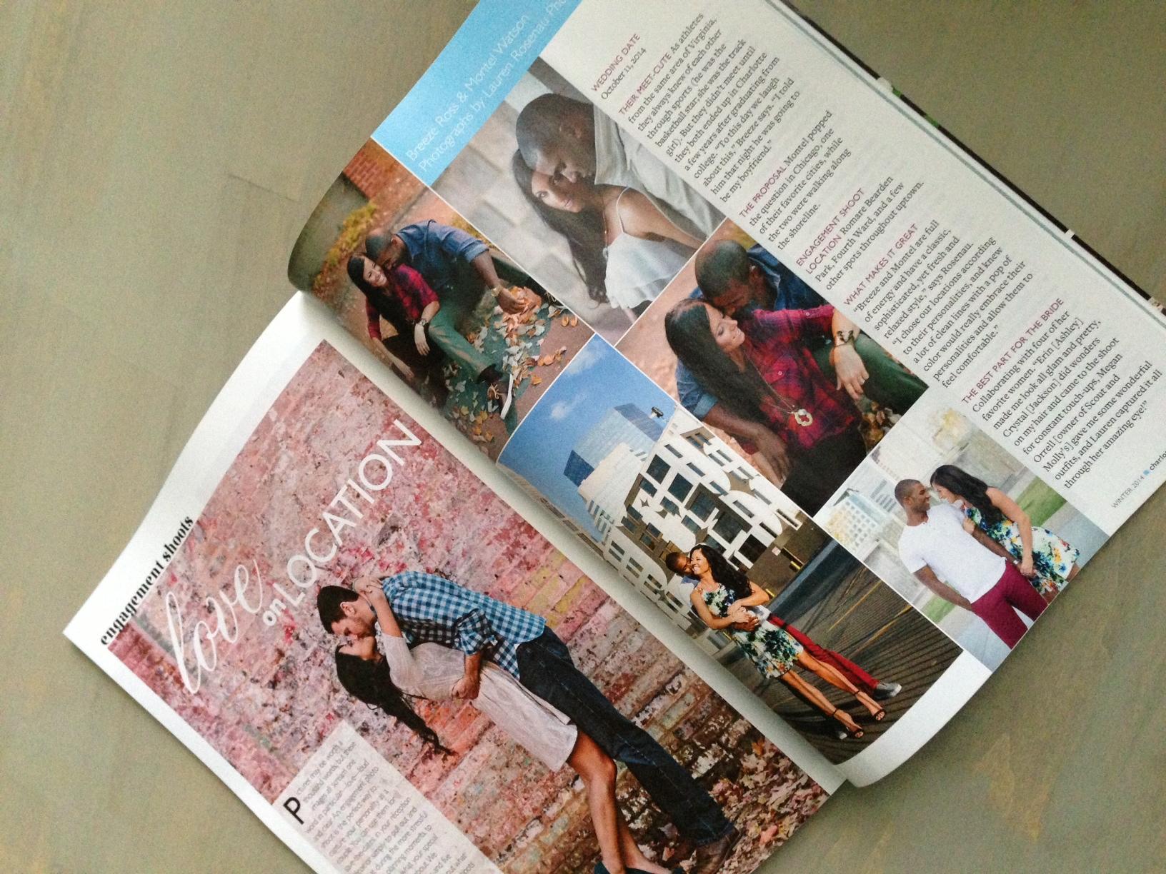 Breeze & Montell in Charlotte Wedding magazine