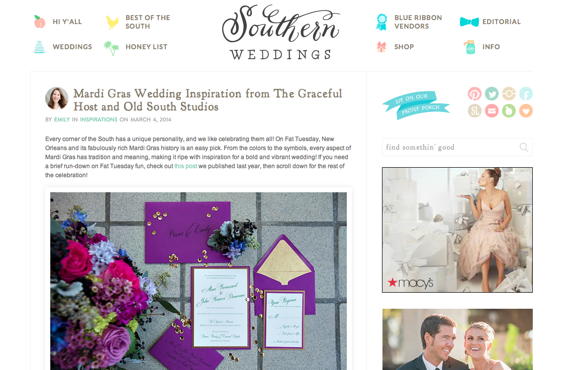 Mardi Gras Inspiration Shoot - Southern Weddings