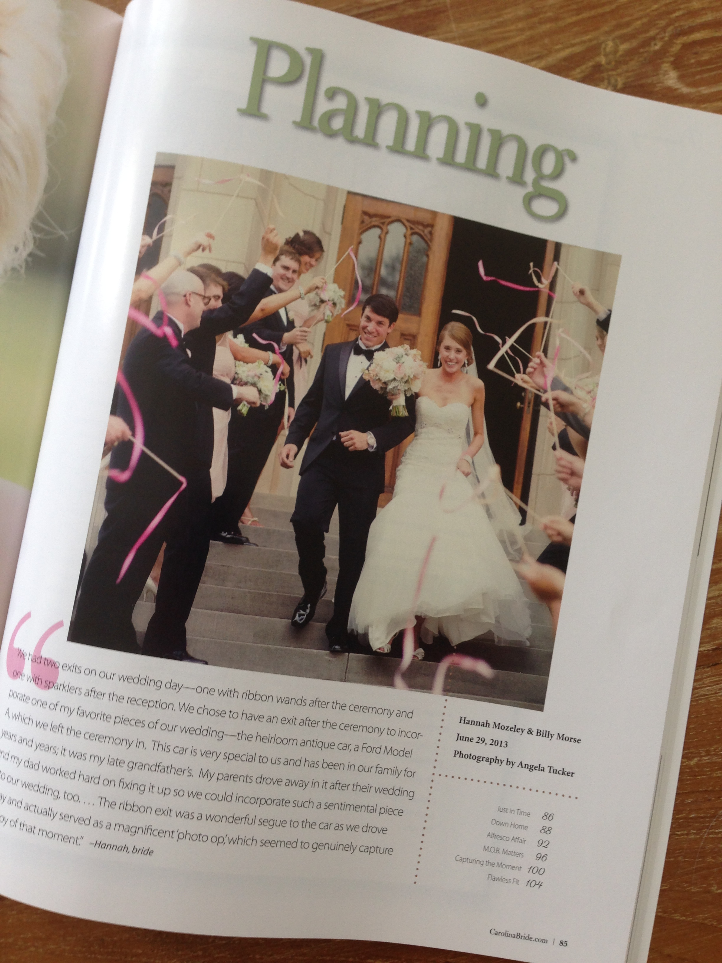 Carolina Bride Feature - Hannah and Billy - Summer 2014 issue