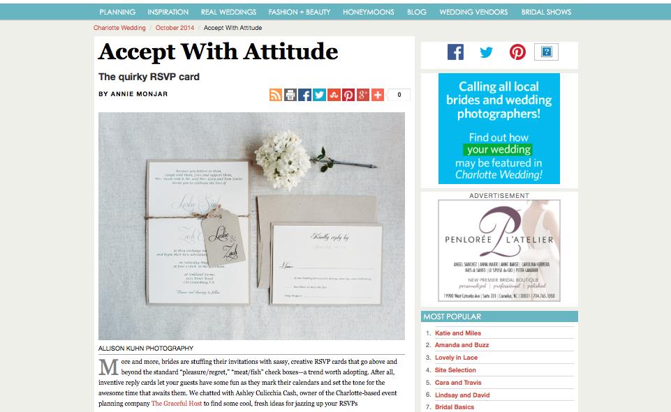 RSVP Trends - Charlotte Wedding magazine Fall 2014