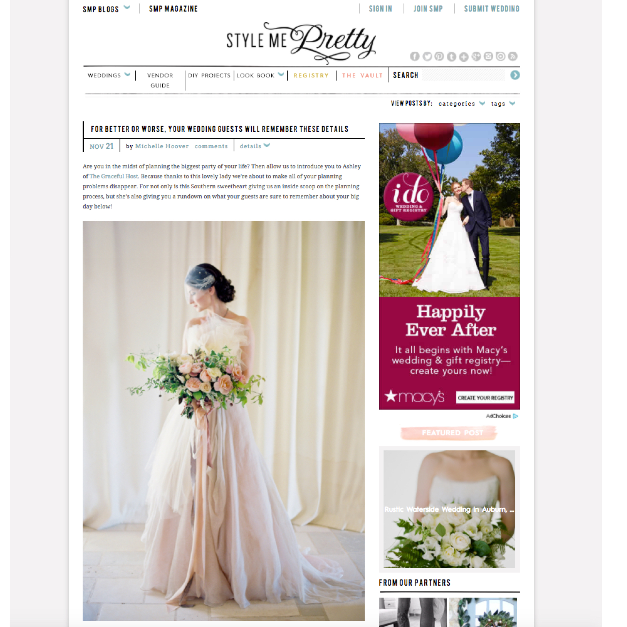 Charlotte Wedding Planner - The Graceful Host - Style Me Pretty - Wedding Planning Tips