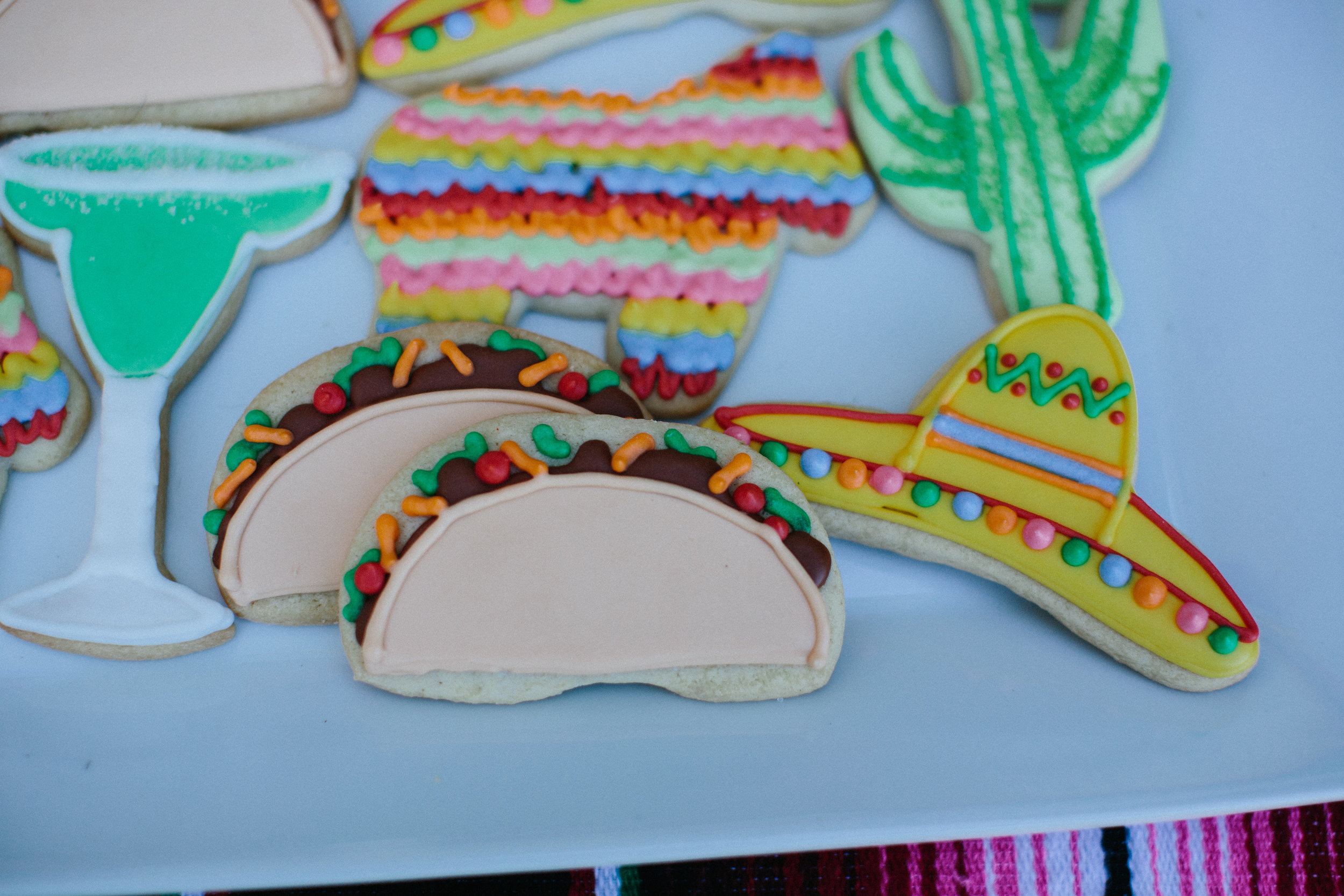 Fiesta birthday party iced cookies