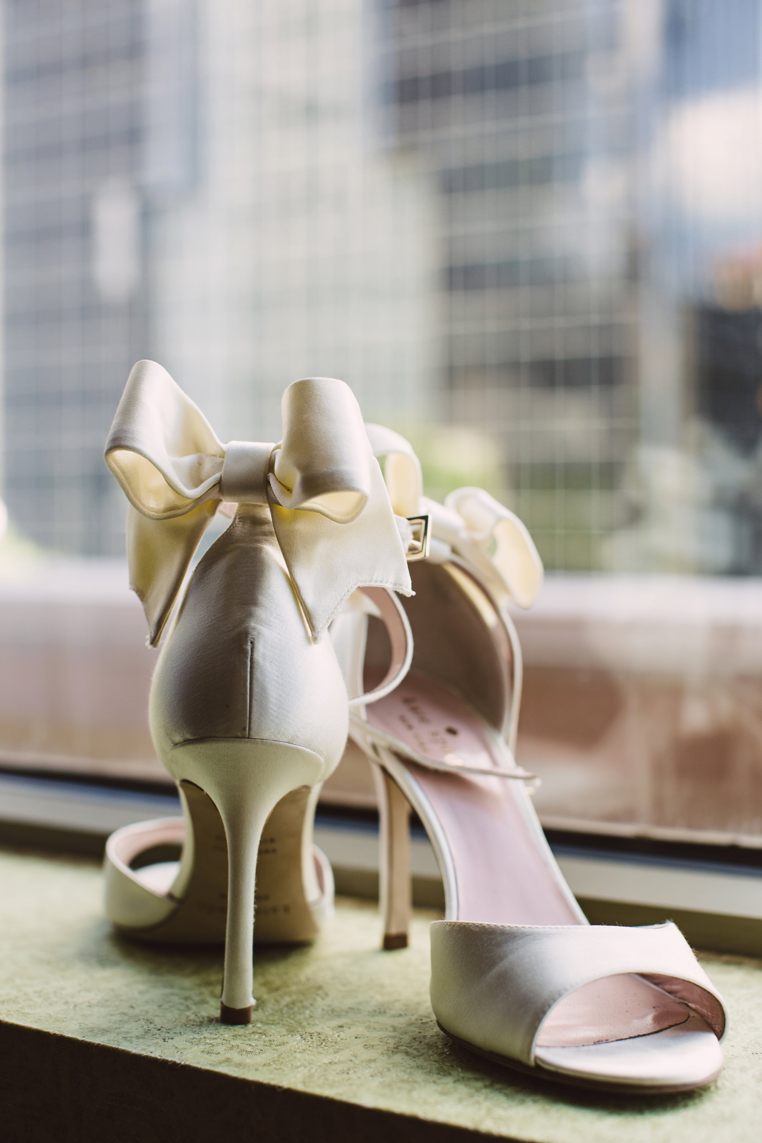 Bow high heels by Kate Spade, Wedding shoes, Mint Museum Uptown wedding in Charlotte, North Carolina by The Graceful Host