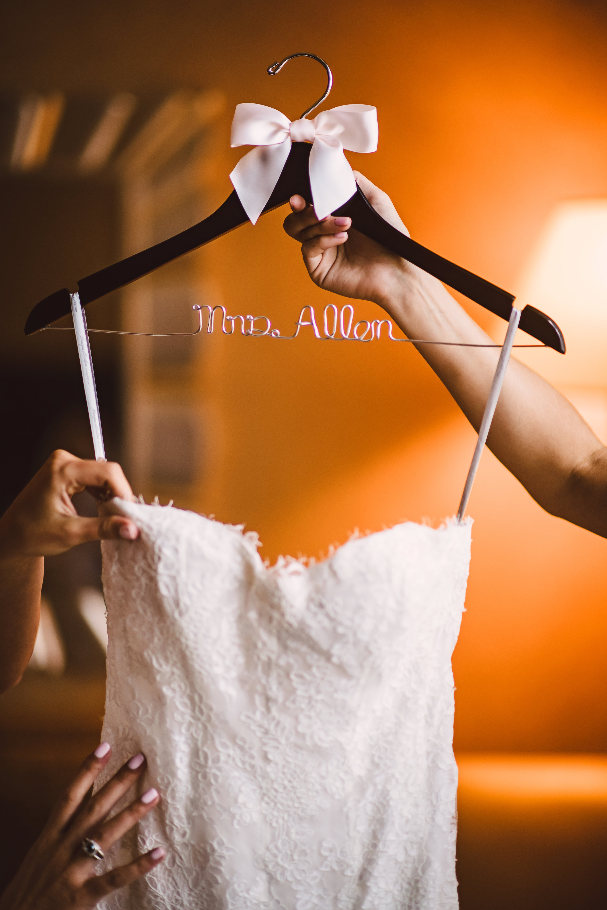Bride wedding hanger, Wedding dress hanger, Personalized hanger, Mint Museum Uptown wedding in Charlotte, North Carolina by The Graceful Host