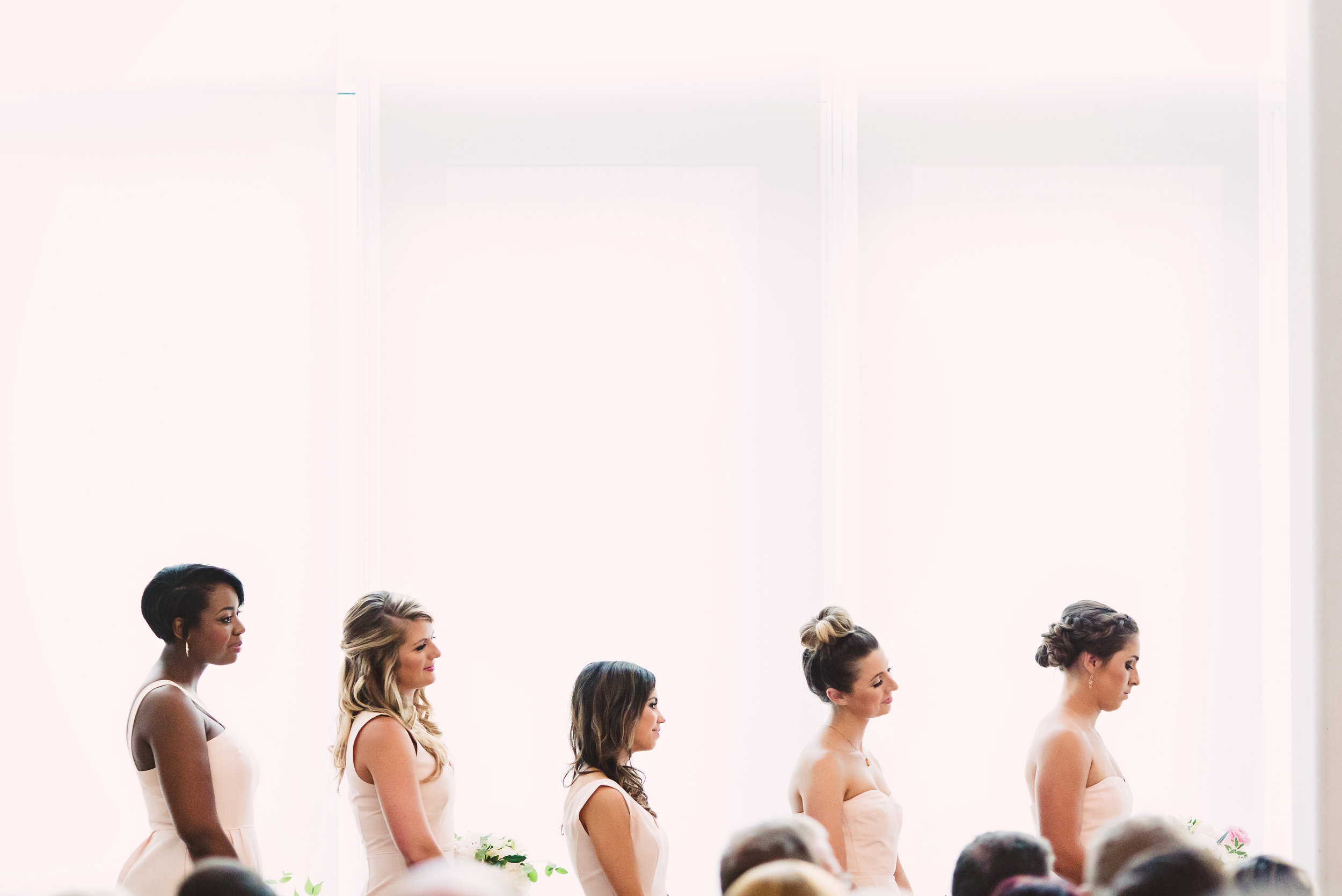 Mint Museum Atrium Wedding Ceremony, Bridesmaid dresses, Wedding hair style, Mint Museum Uptown wedding in Charlotte, North Carolina by The Graceful Host