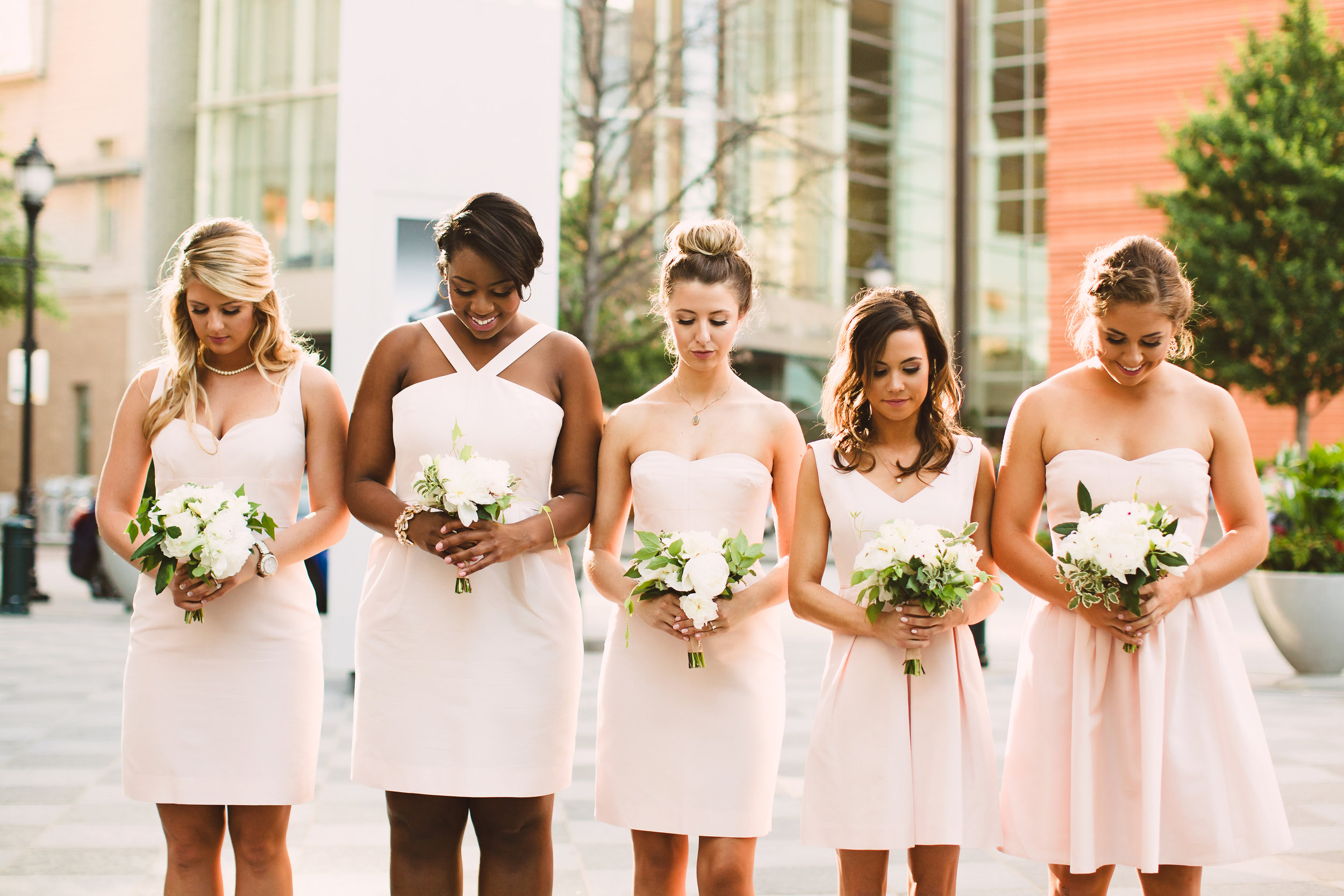 J Crew blush pink bridesmaid dresses, Bridal party style, Bridesmaid bouquet, Pink ivory and greenery bouquet, Mint Museum Uptown wedding in Charlotte, North Carolina by The Graceful Host