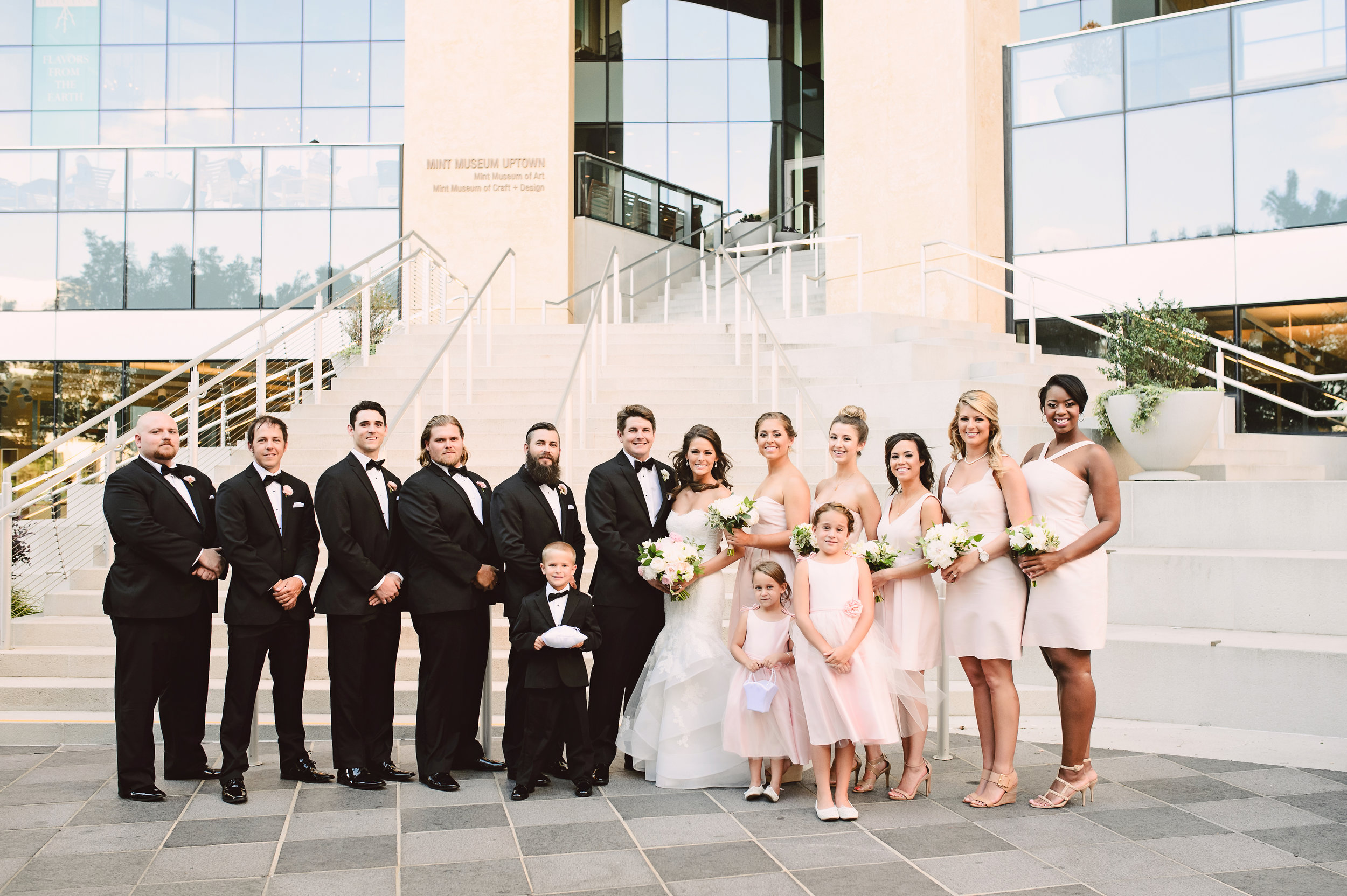 Wedding party style, blush J Crew bridesmaid dress, Mint Museum Uptown wedding in Charlotte, North Carolina by The Graceful Host