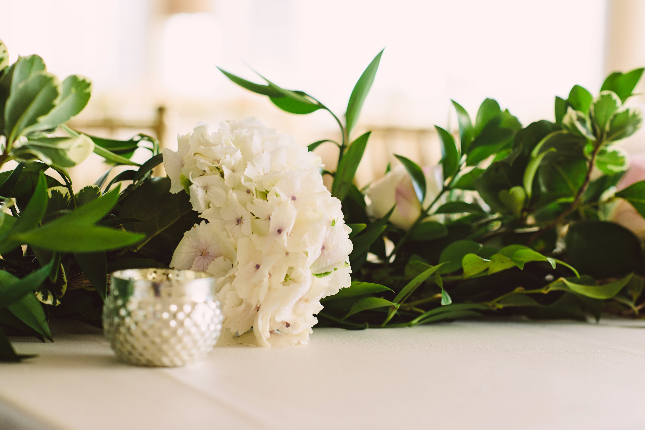 Flower and greenery garland centerpiece, Garden wedding centerpiece, Garland centerpiece, Wedding flowers, Mint Museum Uptown wedding in Charlotte, North Carolina by The Graceful Host