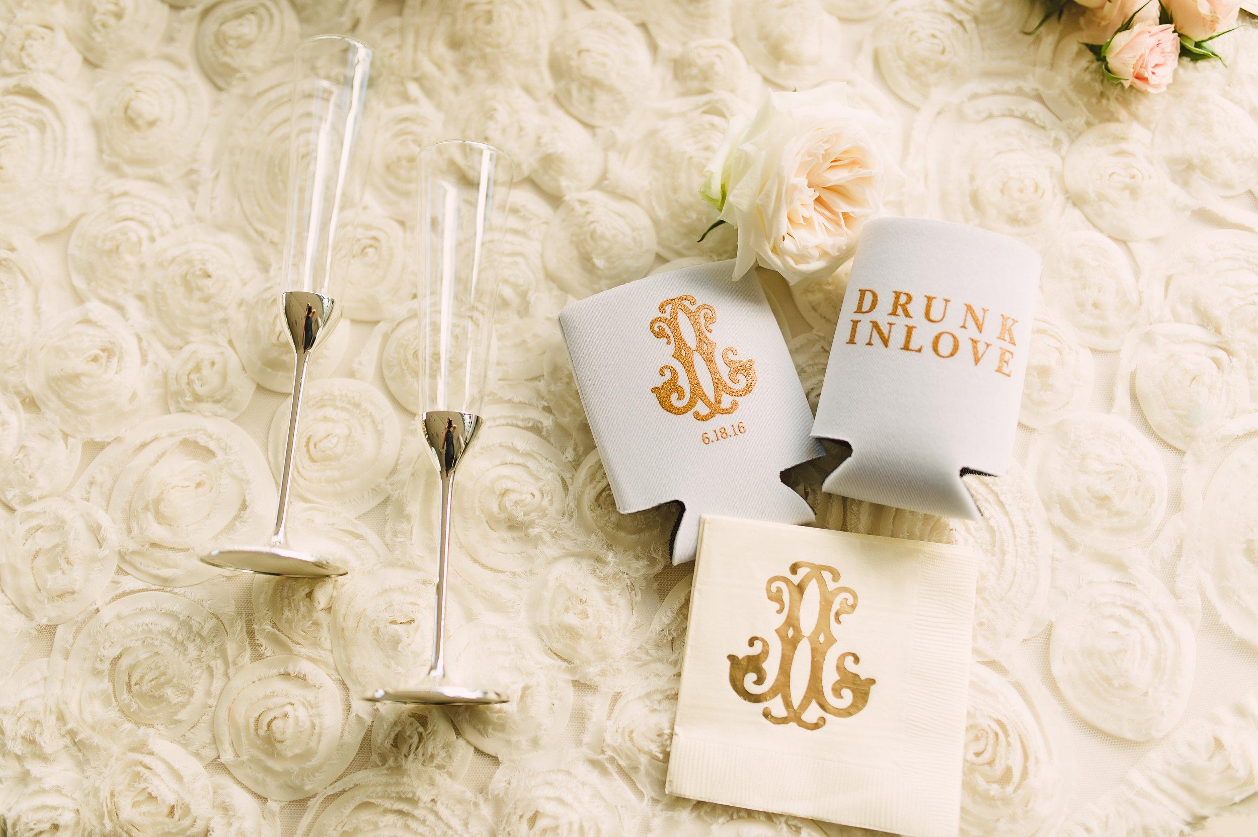 Wedding monogram, Wedding koozie, Wedding cocktail napkin, Personalized wedding decorations, Personalized wedding, Wedding details, Fun wedding details, Mint Museum Uptown wedding in Charlotte, North Carolina by The Graceful Host