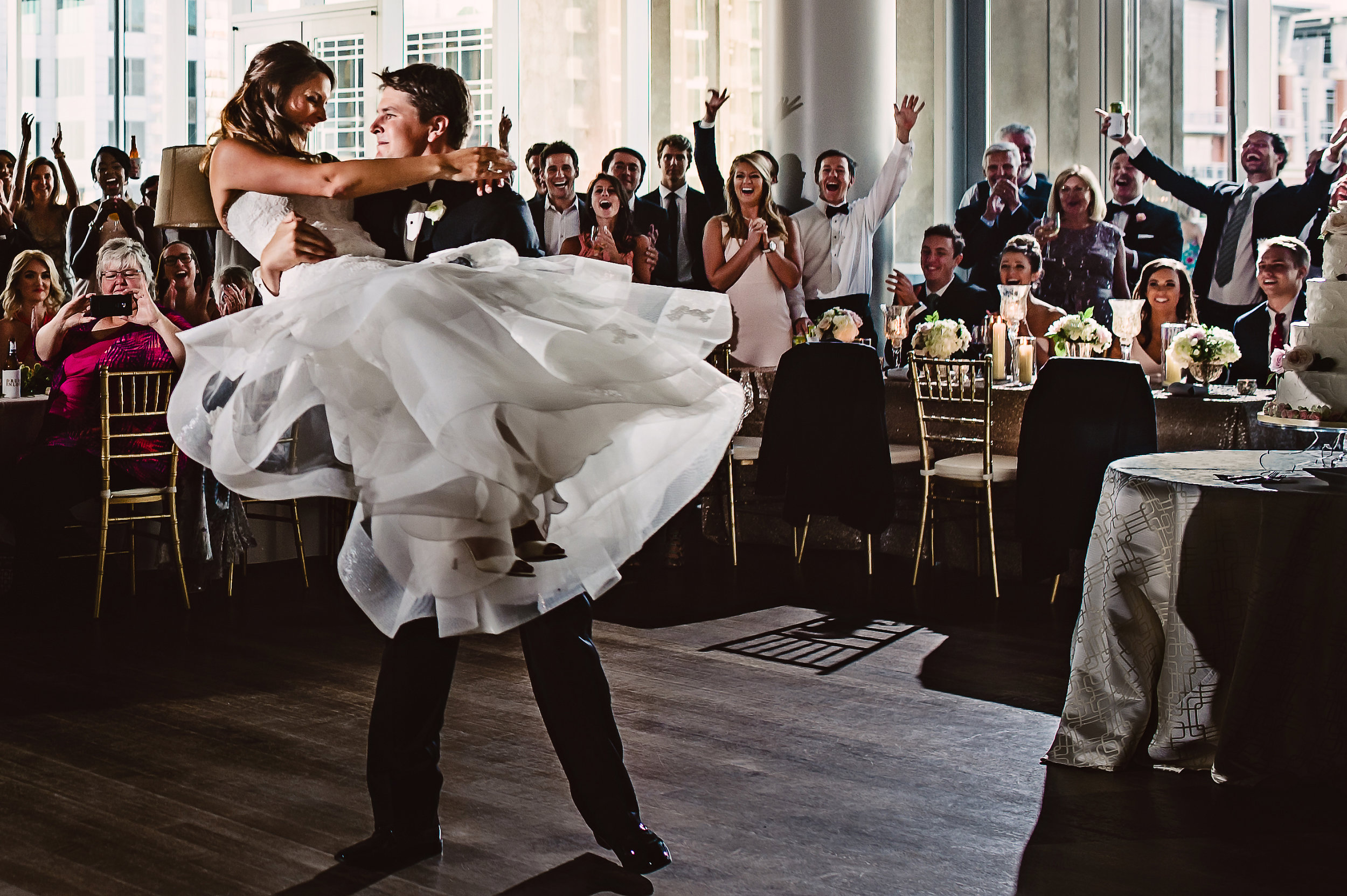 Epic first dance, Wedding first dance, Lace wedding dress, Monique Lhuillier wedding dress,  Must have wedding photos, Choreographed first dance, Mint Museum Uptown wedding in Charlotte, North Carolina by The Graceful Host