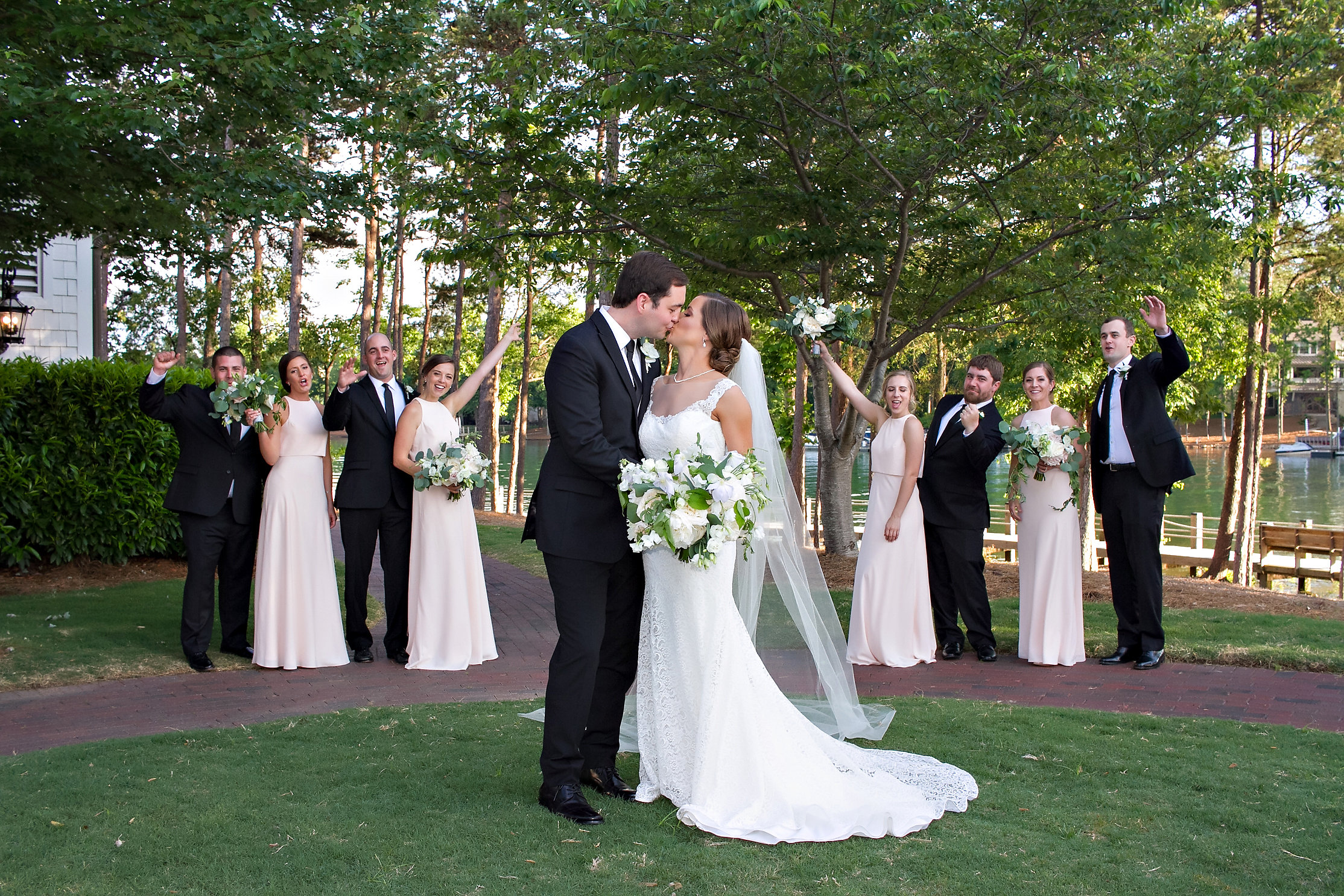 Charlotte North Carolina Wedding, Trump National Golf Course Wedding, Lakeside wedding, Blush Ivory and Greenery Wedding Design, The Graceful Host, Bridal Bouquet, Bridal Fashion, Lace Wedding Dress, Spring Wedding, Elegant Wedding, BHLDN, Blush Bridesmaid Dress, Bridal Party Fashion