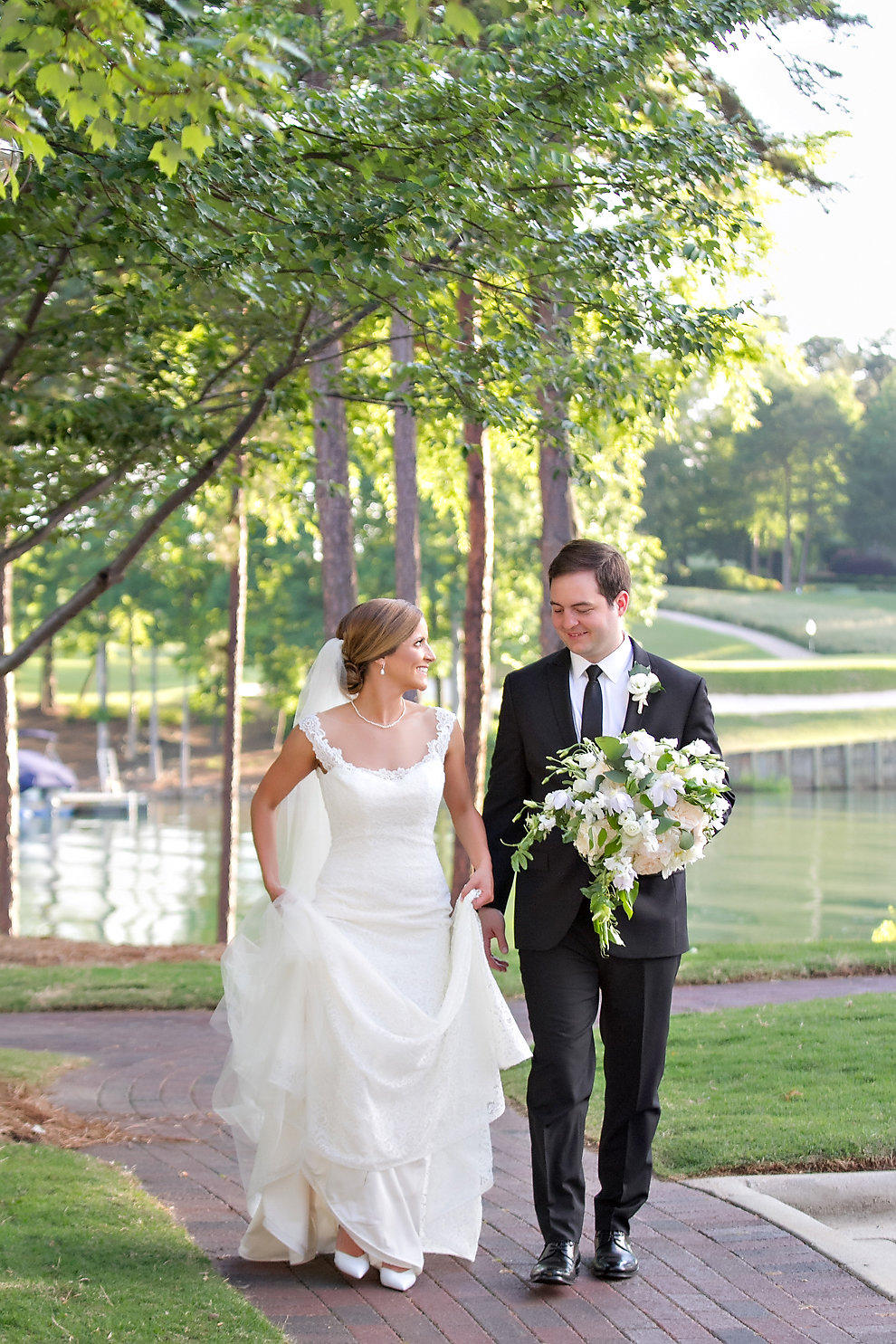 Charlotte North Carolina Wedding, Trump National Golf Course Wedding, Lakeside wedding, Blush Ivory and Greenery Wedding Design, The Graceful Host, Bridal Bouquet, Bridal Fashion, Lace Wedding Dress, Spring Wedding, Elegant Wedding