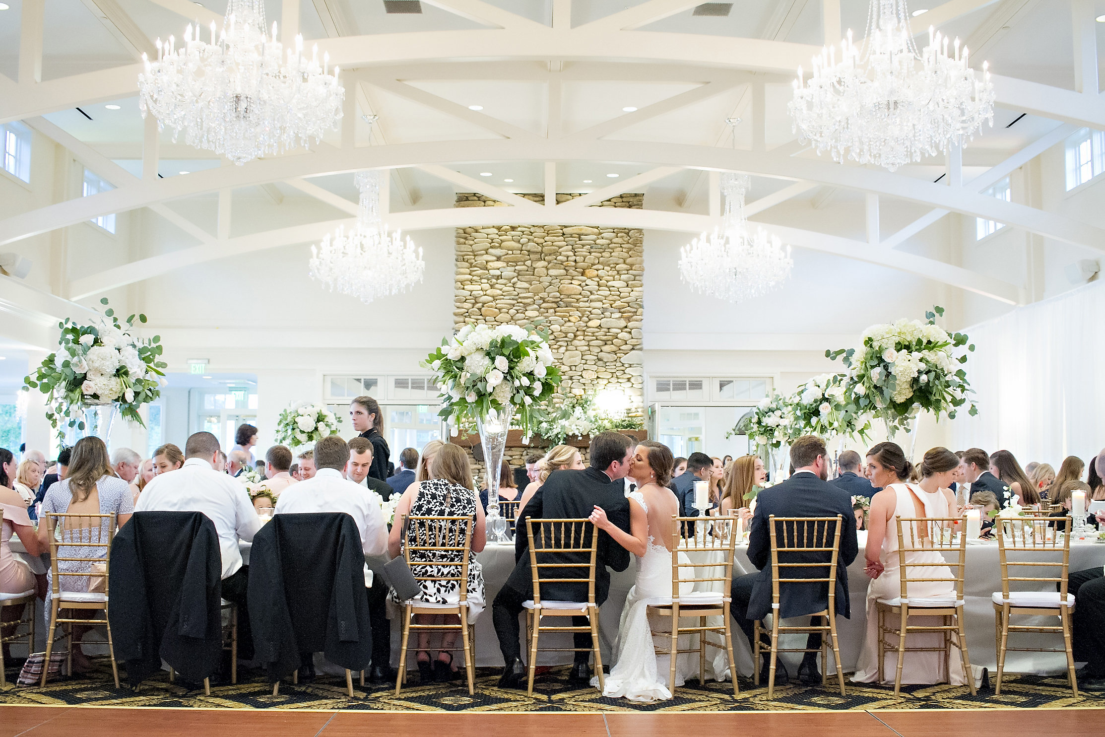 Charlotte North Carolina Wedding, Trump National Golf Course Wedding, Lakeside wedding, Blush Ivory and Greenery Wedding Design, The Graceful Host, Seated Plated Wedding Reception, Wedding Design, Tall Centerpieces, Greenery and White Wedding Flowers