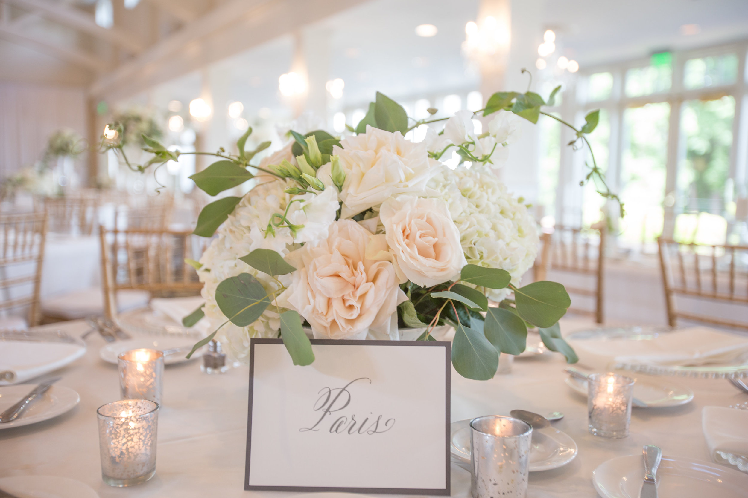 Charlotte North Carolina Wedding, Trump National Golf Course Wedding, Lakeside wedding, Blush Ivory and Greenery Wedding Design, The Graceful Host, Classic Wedding, Low Centerpiece, Wedding Flowers, Compote Wedding Centerpiece, Wedding Table Number Names, Peony Wedding, Spring Wedding