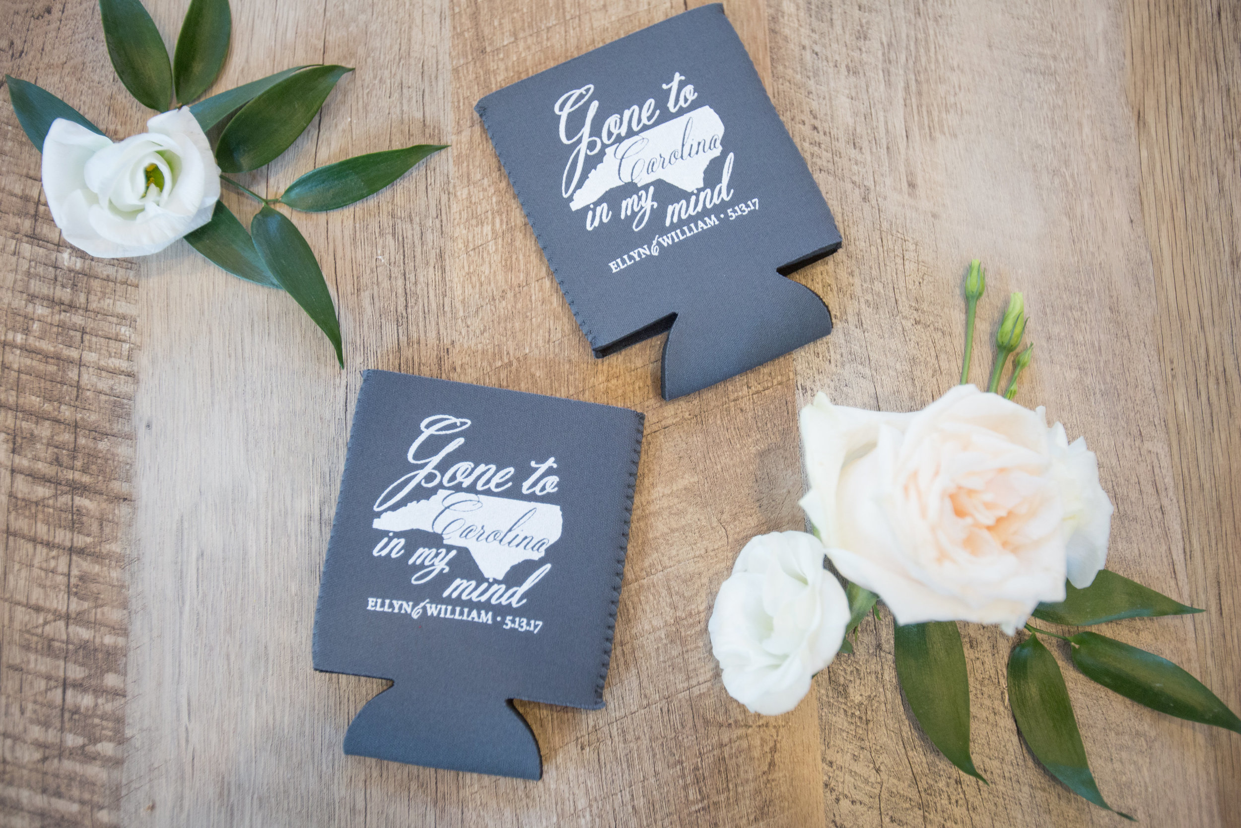 Charlotte North Carolina Wedding, Trump National Golf Course Wedding, Lakeside wedding, Blush Ivory and Greenery Wedding Design, The Graceful Host, Classic Wedding, Wedding Koozies, UNC Themed Wedding Koozie, North Carolina Wedding Koozie, Gone To Carolina In My Mind, Customized Wedding Details