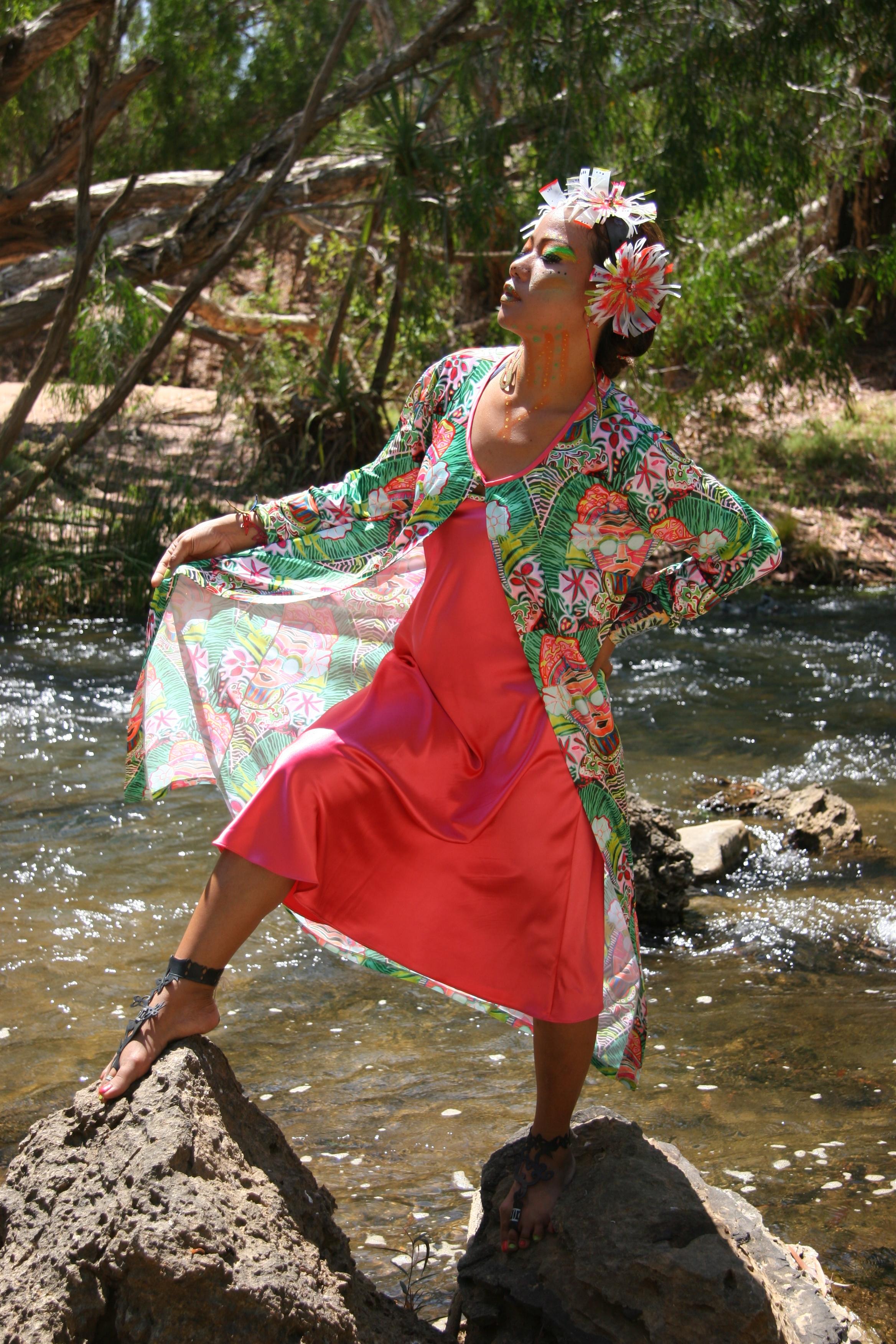 "Rina in modern jersey-  Model Rina in digital printed fabric ""SaraswatiPOP11""- duster coat and slip"