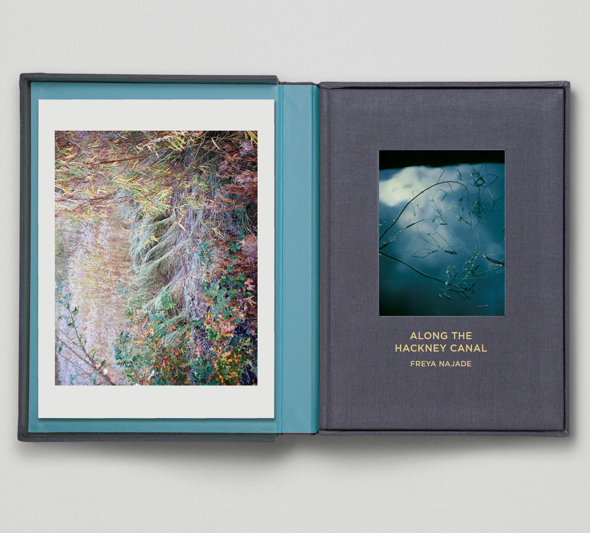 Along the Hackney Canal   Publisher: Hoxton Mini Press Text: Esther Kinsky  Hardcover, gold foiled The Collector's Edition is presented in a bespoke cloth-covered clamshell box complete with signed and numbered limited edition print. 14.5 x 20.5 cm 96 pages English September 2016