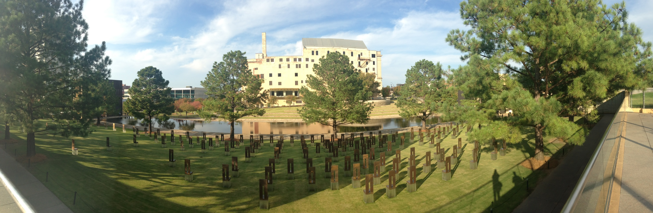 The Oklahoma City National Memorial and Museum (housed in the former Journal Record Building), taken from the Alfred P. Murrah Plaza - the still extant plaza for the Murrah Federal Building. Photograph by Andrei Strizek.