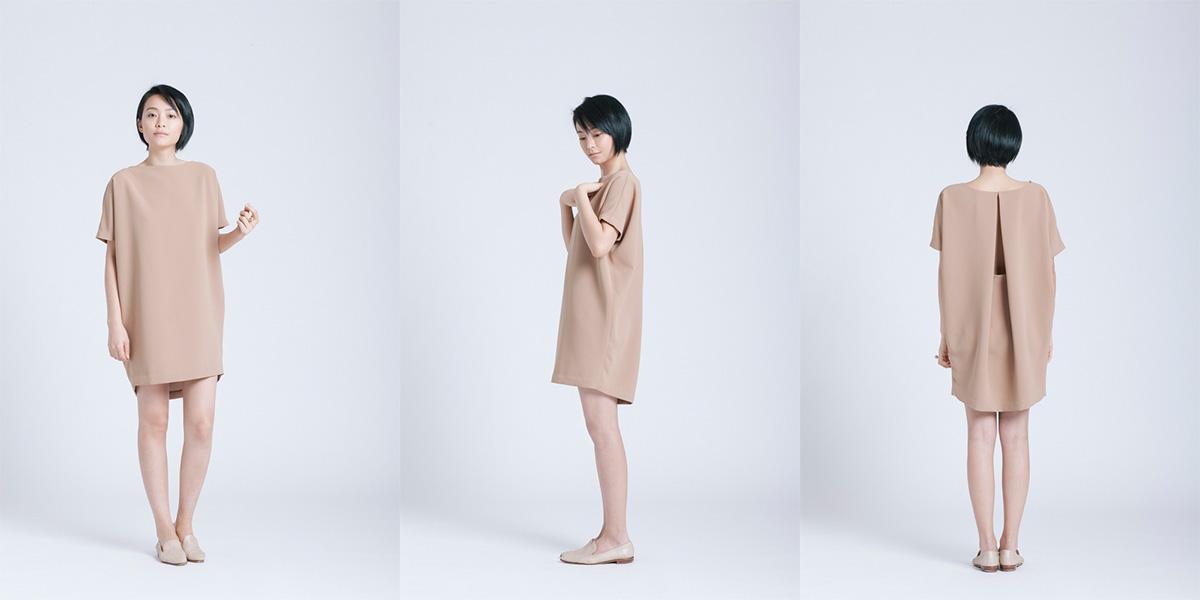 Kaarem Goc Nho Camel Angle Mini Dolman Open Back Dress