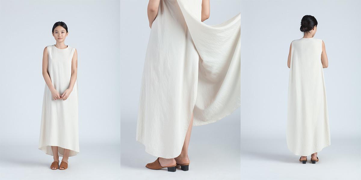 Kaarem 2x XOAY CREAM TURN SLEEVELESS OVERLAP MAXI DRESS 220.00