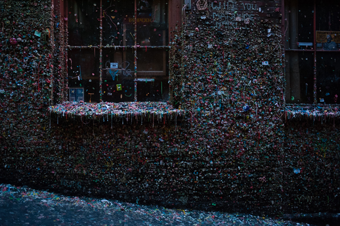 gum wall at dusk, Post Alley