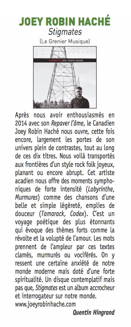 Paru en janvier 2017 dans le magazine Francofans.