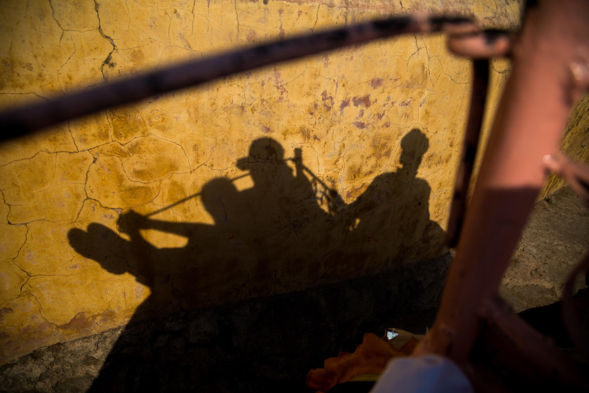 Shadows from the top of an elephant.  Elephant rides are a popular attraction on the way up to the Amber Fort in Jaipur, India.