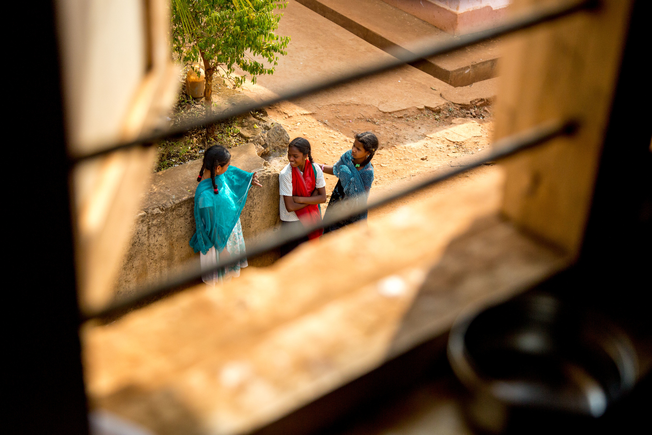 Three girl's at a government funded all girls boarding school in the Araku Valley tribal area.