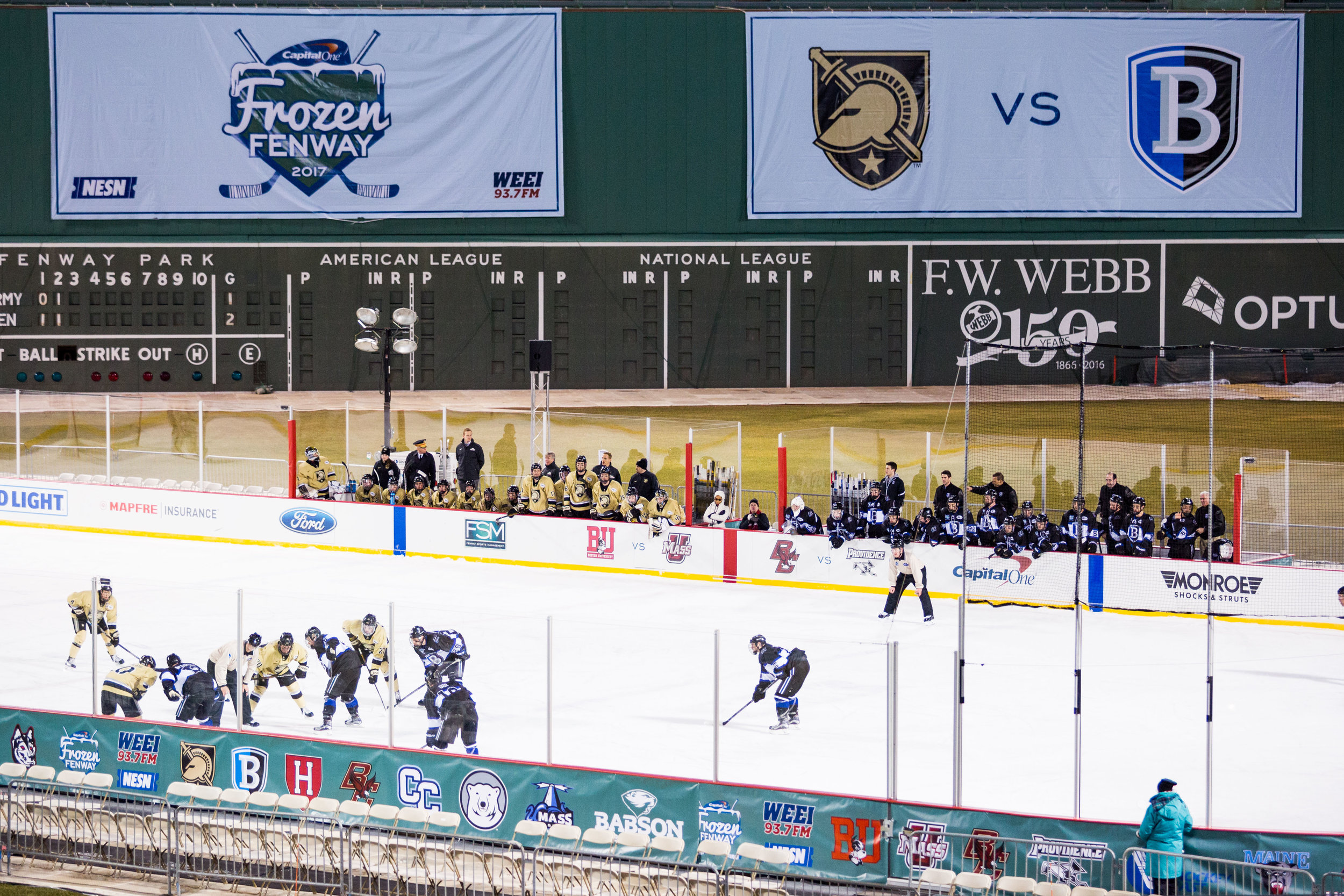 Bentley and Army face off during Frozen Fenway 2017